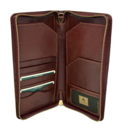 Real Italian Leather Travel Passport Wallet Boarding Pass Clutch Purse AVM10 Brown Open