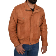 Mens Classic Bomber Nubuck Leather Jacket Alan Tan zip up view