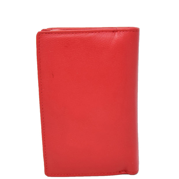 Womens Soft Real Leather Purse Trifold Booklet Clutch AL22 Red Back