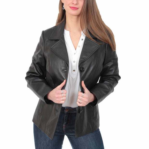 Ladies Leather Blazer Coat Fitted Classic Hip Length Jacket Judy Black Open 2