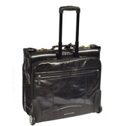 Genuine Leather Garment Dress Suit Carrier A1236 Black Front