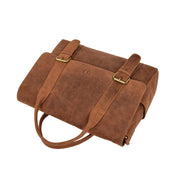 Men Briefcase Vintage Tan Hunter Leather Soft Satchel Laptop Bag Leon Front Letdown