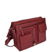 Womens RED Leather Shoulder Bag Classic Casual Cross Body Satchel A54 Open