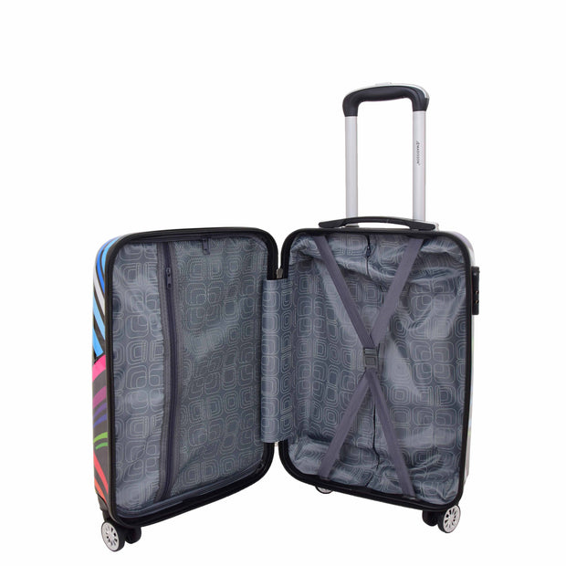 Cabin Size Suitcase Multicolour Hearts Travel Bag 4 wheel Hand Luggage A20S Open