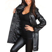 Ladies Real Leather 3/4 Length Fitted Jacket Rachel Black Lining