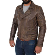 Mens Trendy Biker Leather Jacket Antique Quilted Designer Coat Jace Brown Front 2