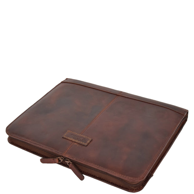 Luxury Leather Ring Binder Folio Document File Case Percy Brown Letdown