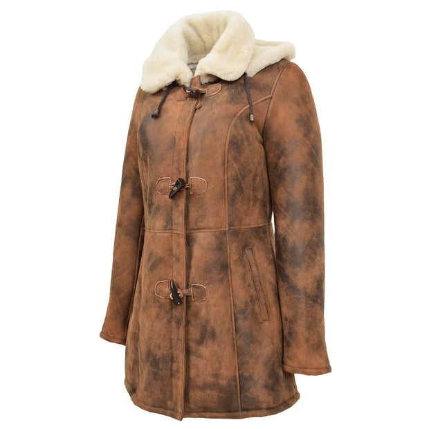 Womens Real Sheepskin Duffle Coat Hooded Shearling Jacket Armas Cognac Front 3