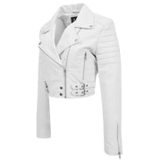 Womens Fitted Cropped Bustier Style Leather Jacket Amanda White 4
