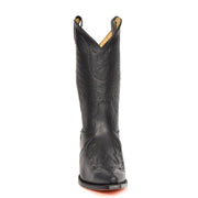 Real Leather Pointed Toe Cowboy Boots AZ350 Black Front