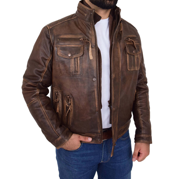 Rust Rub Off Biker Leather Jacket For Men Vintage Rugged Style Coat Mario Open 3