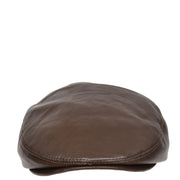 Genuine Brown Leather Flat Cap English Granddad Baker-boy Hat Arthur Front