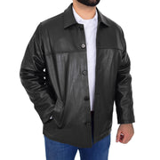 Gents Real Leather Button Box Jacket Classic Regular Fit Coat Luis Black Open 2