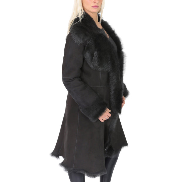 Womens Luxurious Toscana Long Coat Real Sheepskin Pamela Black Side