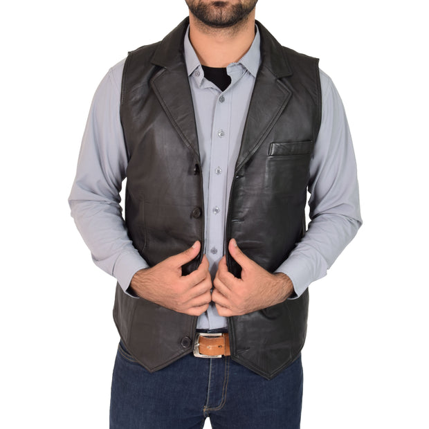 Mens Genuine Soft Leather Waistcoat Western Vest Yelek Rhys Black Open