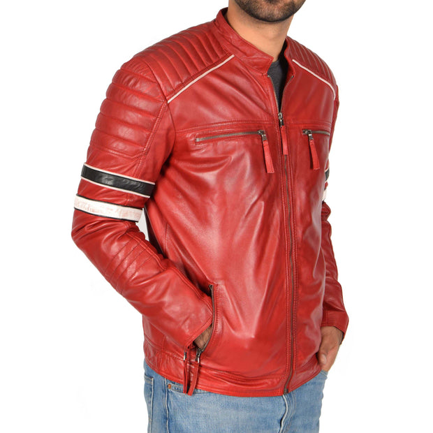 Mens Biker Leather Jacket Stripes Standing Collar Coat Ricky Red Front 2