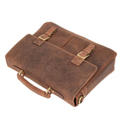 Mens REAL Leather Briefcase Vintage Look Satchel Shoulder Bag A167 Tan Front Letdown