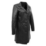 Ladies 3/4 Long Classic Fitted Soft Leather Knee Length Coat Laura Black Front Angle 1