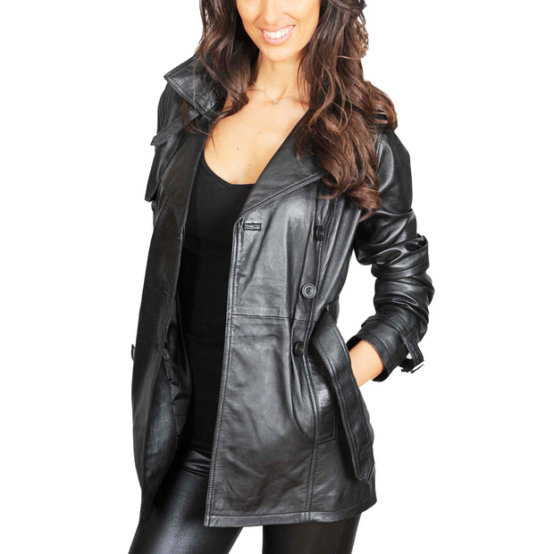 Womens Soft Leather Trench Coat Olivia Black side view