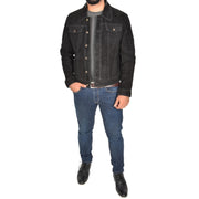 Mens Real Soft Goat Suede Trucker Denim Style Jacket Chuck Black Full 2
