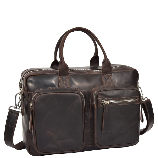 Pure Leather Briefcase Laptop Satchel Office Business Bag Otis Brown