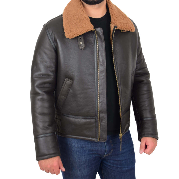 Mens Original Sheepskin Flying Jacket B3 Bomber Aviator Pilots Shearling Coat Raptor Brown/Ginger 2