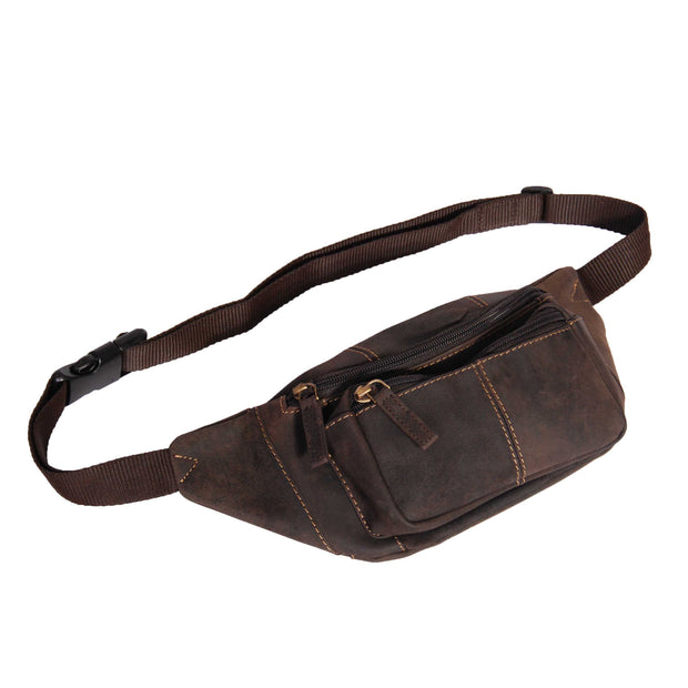 Real Leather Bum Bag Money Mobile Belt Waist Pack Travel Pouch A072 Dark Brown