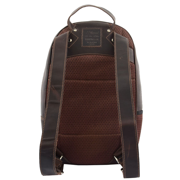 High Quality Genuine Brown Leather Backpack Large Size Work Casual Travel Bag Trek Back