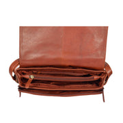 Ladies BROWN Leather Shoulder Bag Flap Over Handbag A190 Top Open