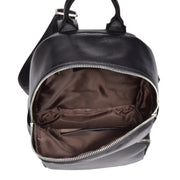 Girls Real Black Leather Backpack Work Casual Classic Bag Kaya Open