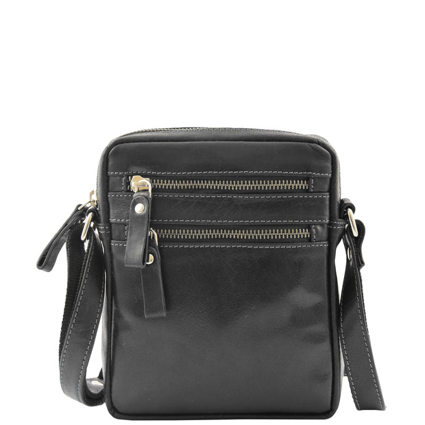 Luxury Black Leather Unisex Cross Body Flight Bag Small Pouch Sunny Front 2