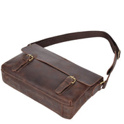Real Leather Cross Body Messenger Shoulder Bag Luxor Brown Back Letdown