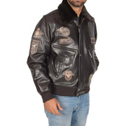 Mens Pilot Leather Jacket Air Force Badges Bomber Coat Luca Brown front 2
