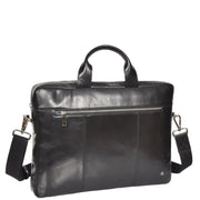 Laptop Briefcase Real Leather Business Bag Messenger Satchel Black Nice Front Angle