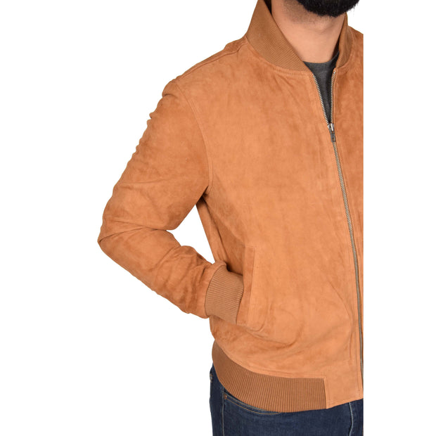 Mens Soft Goat Suede Bomber Varsity Baseball Jacket Blur Tan Feature