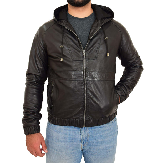 Mens Real Black Leather Bomber Hoodie Jacket Sports Fitted Coat Kent