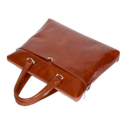 Italian Leather Tan Briefcase Messenger Business Bag Denver Front Letdown