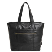 Womens Genuine Black Leather Shoulder Bag Large Tote Day Handbag KAY Back