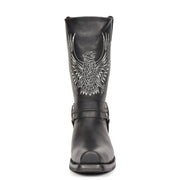 Real Leather Square Toe Cowboy Biker Boots AE33 Black Front