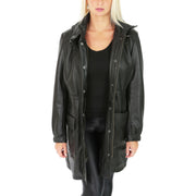 Ladies Duffle Leather Coat 3/4 Long Detachable Hood Classic Parka Jacket Liza Black Open 1