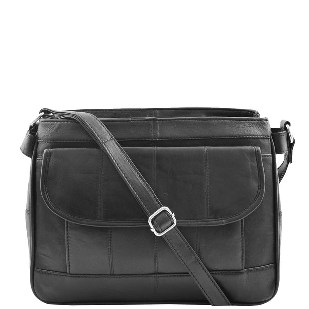 Ladies Soft Black Leather Crossbody Bag Twin Zip Top Casual Organiser Edwina Front 2