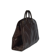 Genuine Soft Leather Suit Carrier Dress Garment Bag A173 Brown Side