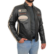Mens BLACK Leather Biker Jacket Slim Fit Motor Sports Badges Coat Wayne Open Side 2
