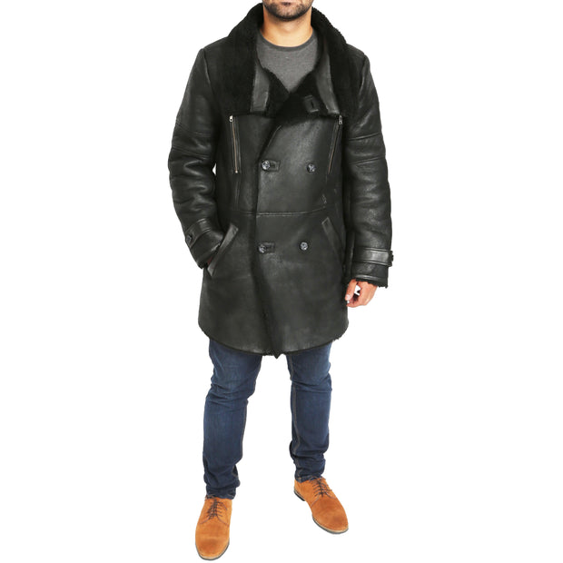 Mens Genuine Sheepskin 3/4 Long Reefer Trench Coat Bruno Black Full