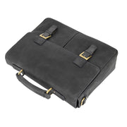 Mens REAL Leather Briefcase Vintage Look Satchel Shoulder Bag A167 Navy Front Letdown