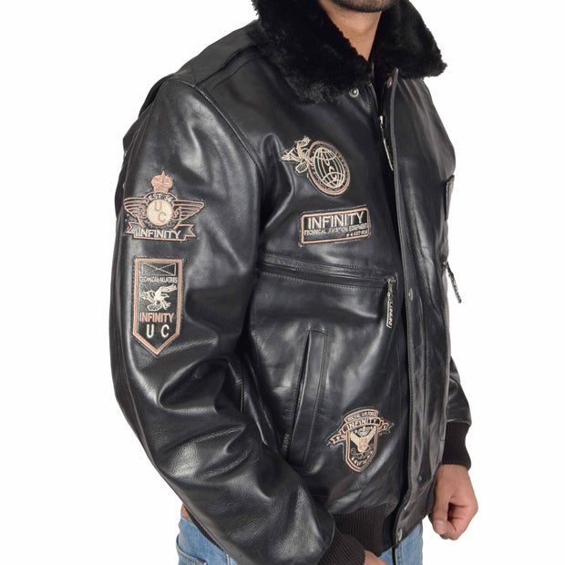 Mens Pilot Leather Jacket Air Force Badges Bomber Coat Luca Black Feature 1