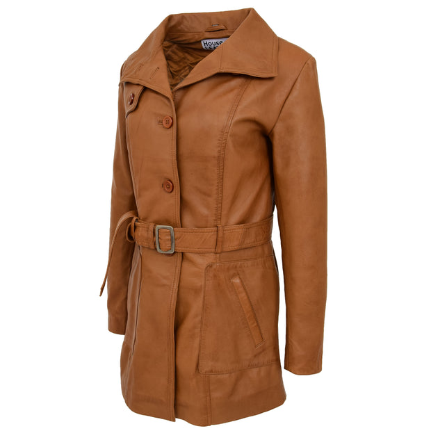 Womens Real Leather Mid Length Trench Parka Coat Alba Tan Side Angle 1