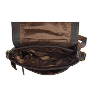 Mens Real Leather Cross body Messenger Bag A224 Brown Open