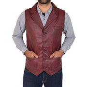 Mens Genuine Soft Leather Waistcoat Western Vest Yelek Rhys Burgundy
