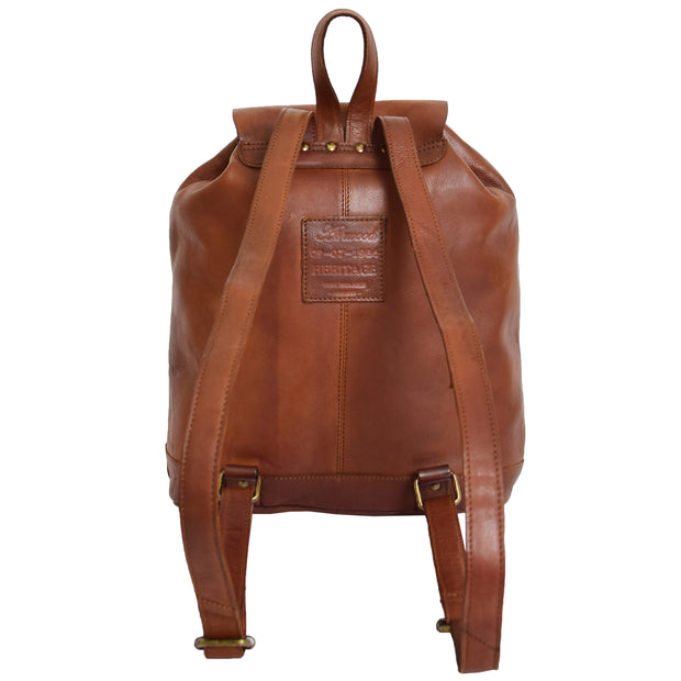 Genuine Vintage Rust Leather Backpack Large Organiser Rucksack AB99 Back